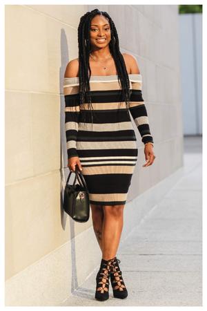 Multicoloured Striped Sweater Dress